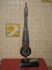 VTG 1970s Russian Soviet Handmade DESKTOP Model Metal Space Rocket Soyuz & Clock