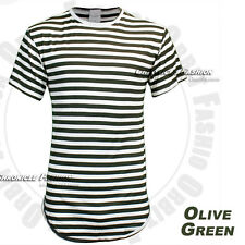 Men's Long T Shirts Extended Casual Crew Neck Short Sleeve Stripes Elongated Tee