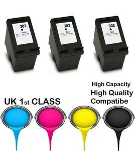 3 REMANUFATURED hp302 Black High Capacity& Quality cartridge for HP printer