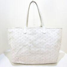 Auth GOYARD Saint Louis PM White Coated Canvas Leather Tote Bag