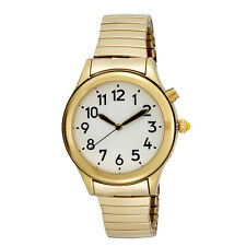 Women's Deluxe Talking Watch Gold Tone White Face w/ Stretch Band