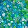 100 Mermaid Pony Beads Mix, Seaglass Green, Blue, Glitter, Matte, Clear, Dummy
