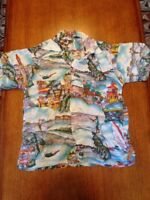RARE VINTAGE HAWAIIAN Miami Beach RAYON SHIRT 40s WHEATLEY SPORTS FISH CAR SMALL