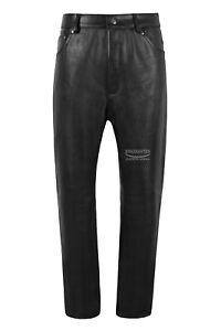Men's Leather Pants Biker Trouser Black Jeans Biker Cowhide Leather Trouser 666