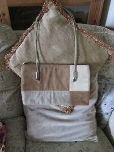 Vintage Fashion Faux Handbag Two-tone shoulder bag rigid handles brown and cream