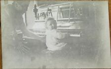 Piano, Baby Playing 1910 Realphoto Postcard - French Back
