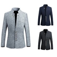 Men Button Blazer Style Tunic Suit Stand Collar Stylish Slim Fit Jacket Coat