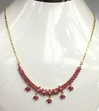 14k Solid Yellow Gold Flower Cluster Pendant Necklace/ Chain, Natural Ruby 8TCW
