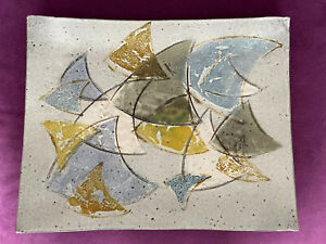 Nancy Wheeler Craigie 1966 Studio Pottery Ceramic Dish Wall Art MCM Mod 16 x 13""
