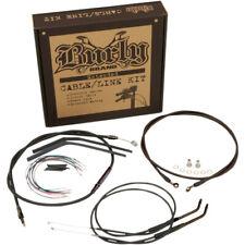 "Burly 12"" T-Bar Handlebar Black Brake Line Cable Kit '12-'17 Harley Dyna Non-ABS"