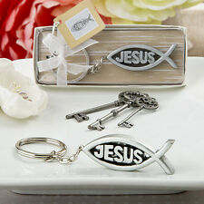 Jesus Fish Ichthys Design Keychain Religious Christening Wedding Favors
