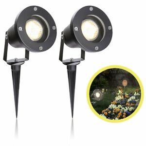 2X LED Außenleuchte GU10 Strahler Wegbeleuchtung Bodenleuchte Gartenstrahler