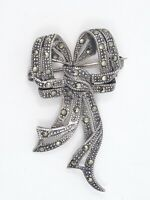 """ANTIQUE ART DECO MARCASITE BOW STERLING SILVER PIN BROOCH ~ 1.75"""""""
