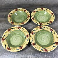 Pier 1 ELIZABETH Rimmed Soup Pasta Bowls Floral Hand Painted Stoneware Set of 4