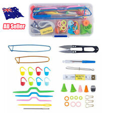 56pcs Crochet Hook Knit Yarn Weave Knitting Needle Clip Marker Tool Set W/case