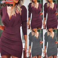 Women's Sexy V Neck Bodycon Mini Dress Ladies Long Sleeve Evening Party Dresses