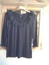 H&M black 3/4 sleeve jersey top with ruffle neckline M