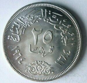 1964 EGYPT 25 PIASTRES - AU/UNC - GREAT SILVER CROWN COIN - Lot #L30