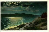 Salton Sea CA Moonlight on Beach Postcard Unused (35180)