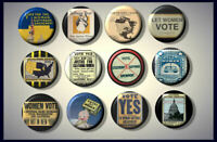 Suffrage American Let Women Vote Equal Rights Pinback Buttons pins Set of 12