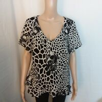 Spago Collection Womens Top Black White Size 14W Floral Tunic Animal Print Lined