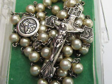 "† BLESSED ANTIQUE STERLING CREAMY PEARL GLASS ROSARY ROSARIO NECKLACE 30"" BOX †"