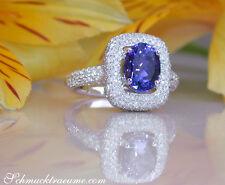 Klassisch: Bildschöner AAA Tansanit Ring mit Brillanten 3.59 ct. WG-750 ab 7700€