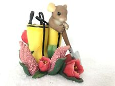 "Charming Tails ""Gardening is Good for the Sole� Mouse Fitz & Floyd"