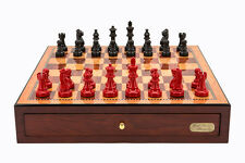 """Dal Rossi Italy Red Mahogany Finish chess box with compartments 18"""" with French"""