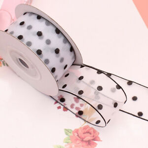 Black Polka Dot Sheer Organza Ribbon Chiffon - 2.5cm 4cm Widths - 8 Colors