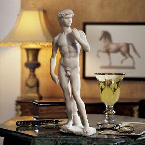 Classic Renaissance David Sculpture Marble Statue Masterpiece