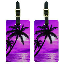 Palm Trees And Sunset Pink - Beach Tropical Ocean Luggage ID Tags Set of 2
