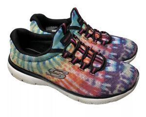 Skechers Rainbow Tie Dye Women's Shoes Size 7 Memory Foam