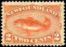 Newfoundland #48 mint F-VF OG HR DG 1880 Codfish 2c red orange CV$40.00