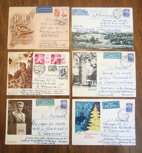 6 Soviet Covers with Lithuanian Themes Mailed to U.S. - 1961-1965
