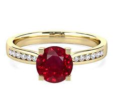 Hallmarked 14K Yellow Gold Natural Diamond Wedding Rings 2.18 Ct Ruby Gemstone
