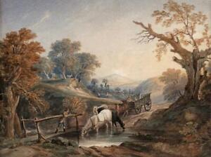 AFTER THOMAS GAINSBOROUGH Watercolour Painting THE BROOK BY THE WAY