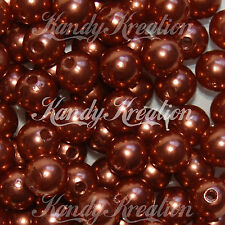 10mm Brown Acrylic Round faux Pearl Spacer Beads Solid Plain bottle cap gum ball