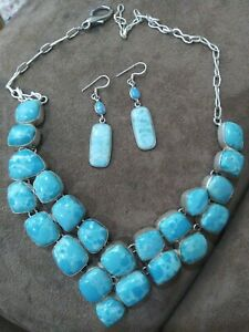 Larimar statement necklace with earrings