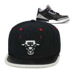 Mitchell & Ness Chicago Bulls Snapback Hat Cap For Jordan 3 Retro Black Cement