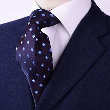 Red Pindot Blue Diamond Squares Luxury Designer Formal Dressy Skinny Party Tie