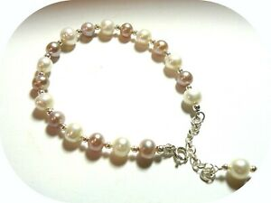 Sterling Silver Gemstone Accent Bead Bracelet With Extender. Pearls Or Gemstones