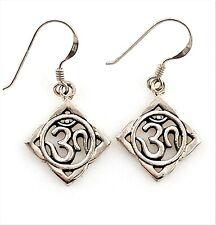 Estate .925 Sterling Silver Petite Ohm Aum Zen Yoga Filigree Dangling Earrings