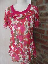 Anna Rose Collection Beau Motif Floral Rose Mix Couleurs chemisier haut doublé Taille 16