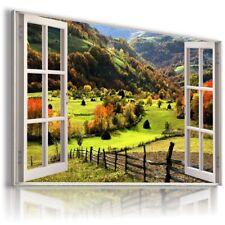 GOLDEN AUTUMN ALPS 3D Window View Canvas Wall Art Picture W518 MATAGA .