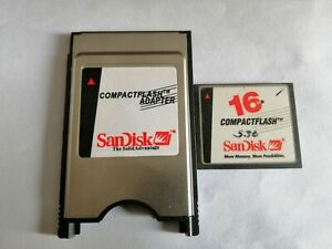 CompactFlash 16MB CF with Compact Flash Card adapter SanDisk 16M PC PCMCIA Card