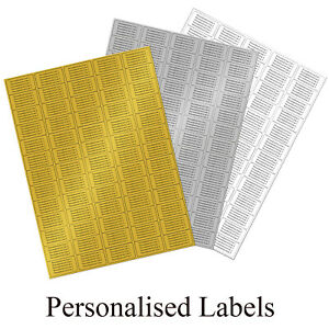 GOLD SILVER or WHITE Address Labels - 260 Personalised Printed Sticky  Stickers