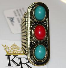 NWT Katy Richards Simulant Turquoise & Coral Antiqued Goldtone Ring JTV