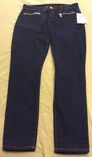 Michael Kors Women's Overdyed Indigo Skinny Zipper Jeans Sz 4 MSRP $130 NWT