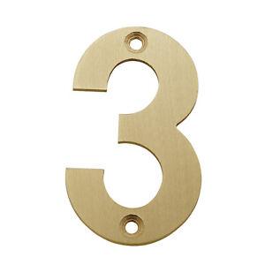 Front Door Numbers 3 Inch Satin Brass Door Numbers 0-9